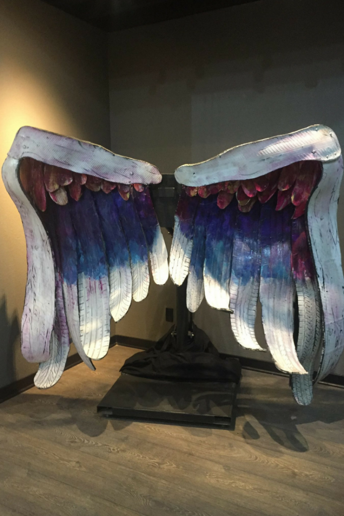 angel wings at the museum of selfies