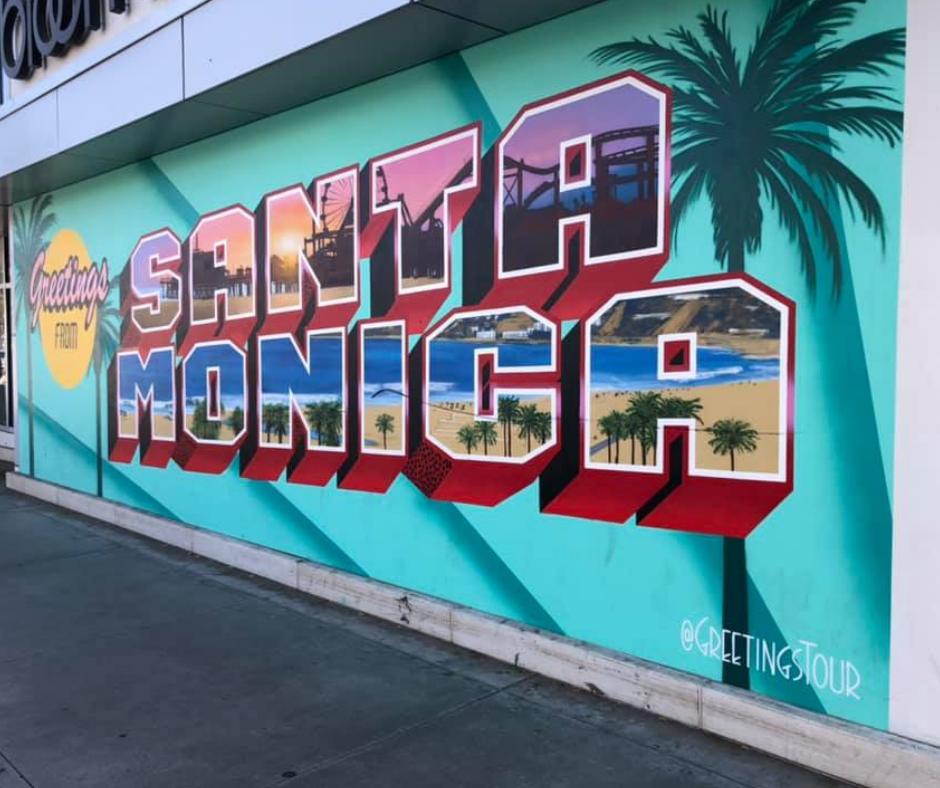 greetings from santa monica mural